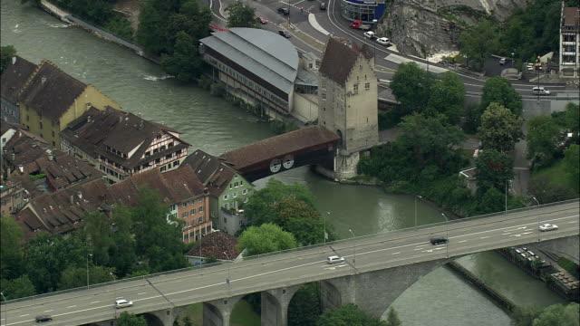 aerial zo old covered bridge and townscape, baden, aargau, switzerland - überdachte brücke brücke stock-videos und b-roll-filmmaterial