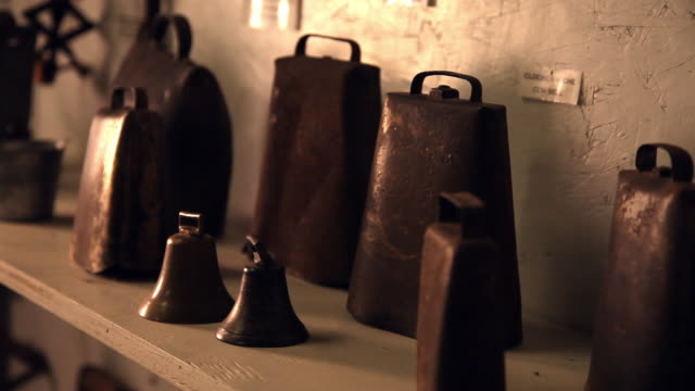 old cowbells dented and rusty - dented stock videos & royalty-free footage