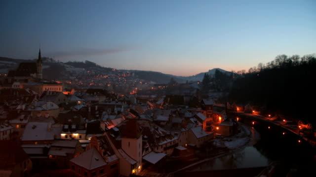old tschechische village, sonnenuntergang - tschechische kultur stock-videos und b-roll-filmmaterial