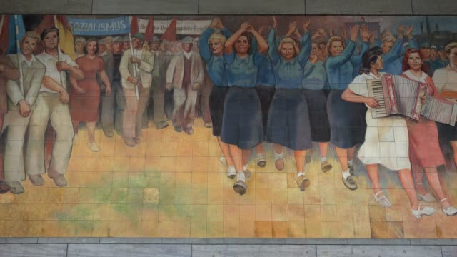 old ddr mural painting at the federal ministry of finance, wilhelmstrasse, berlin, germany, europe - east germany stock videos and b-roll footage