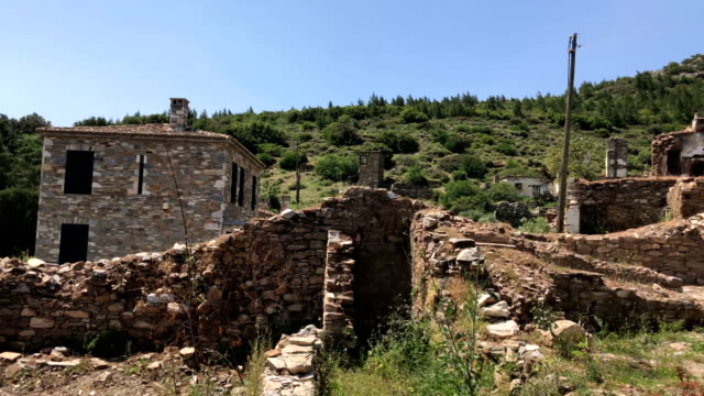 old demolished house in the doganbey village, turkey - aydın province stock videos and b-roll footage
