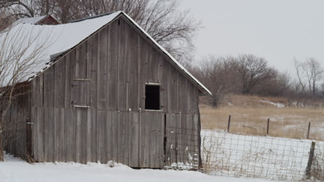 old deserted farm building with gray weathered barn boards, abandoned in a rural winter landscape. - weathered stock videos & royalty-free footage