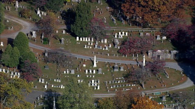 old dutch church and cemetery - aerial view - new york,  westchester county,  united states - cemetery stock videos & royalty-free footage
