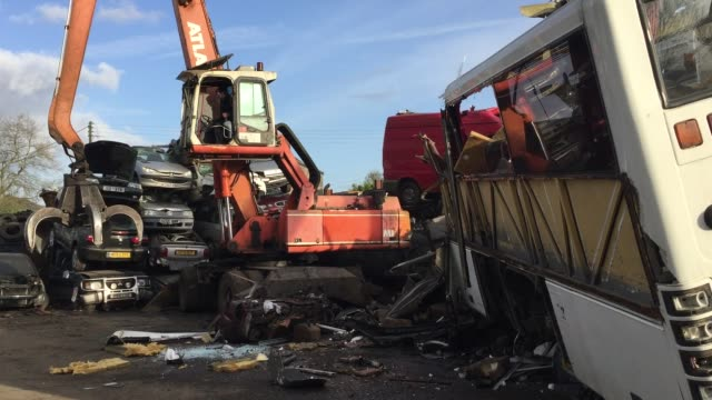 A old endoflife scrap coach is processed at Pylle Motor Spares and Metal Processing a licensed scrap yard in Pylle near Shepton Mallet on September 6...