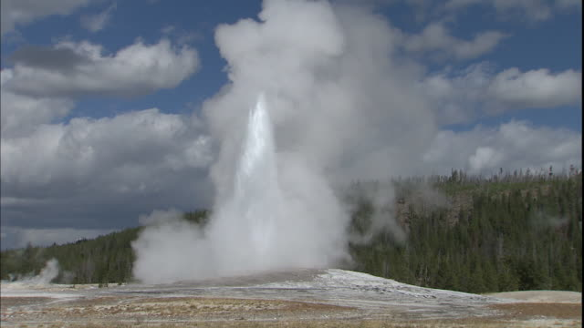 old faithful erupts in yellowstone national park. - old faithful stock videos & royalty-free footage