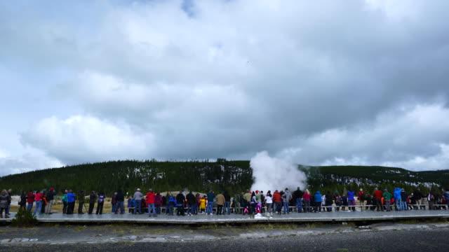 old faithful geyser, yellowstone national park, unesco world heritage, wyoming, usa, north america, america - old faithful geysir stock-videos und b-roll-filmmaterial
