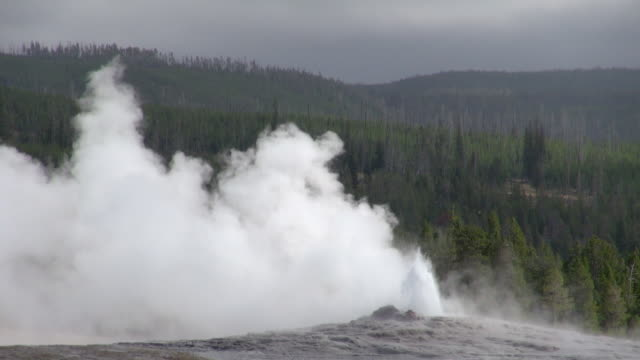 old faithful setting down after erupting - old faithful stock videos & royalty-free footage