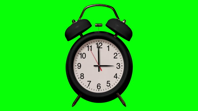 old fashioned black alarm clock rings at 3 o'clock on chroma key background - number 3 stock videos & royalty-free footage