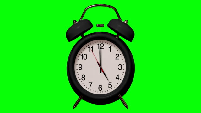 old fashioned black alarm clock rings at 5 o'clock on chroma key background - number 5 stock videos & royalty-free footage