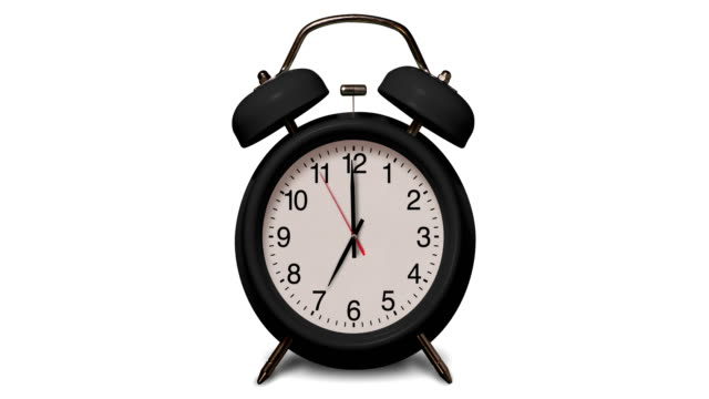 old fashioned black alarm clock rings at 7 o'clock on white background - number 7 stock videos & royalty-free footage