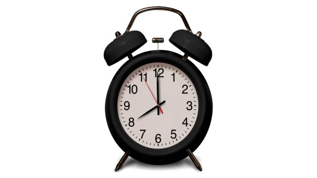old fashioned black alarm clock rings at 8 o'clock on white background - number 8 stock videos & royalty-free footage