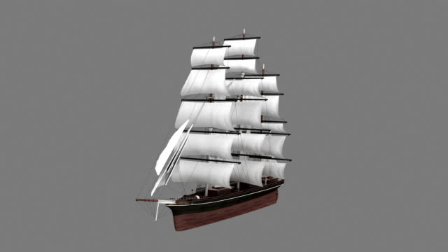 old fashioned military ship spin with luma matte - nautical vessel stock videos & royalty-free footage