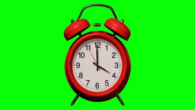 vidéos et rushes de vieux réveil rouge à l'ancienne sonne à 4 o'clock sur chroma key background - grande aiguille