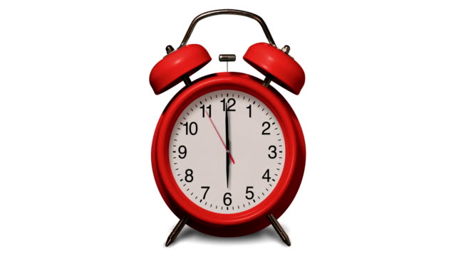 old fashioned red alarm clock rings at 6 o'clock on white background - number 6 stock videos & royalty-free footage