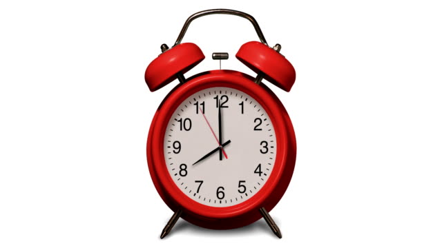 old fashioned red alarm clock rings at 8 o'clock on white background - number 8 stock videos & royalty-free footage