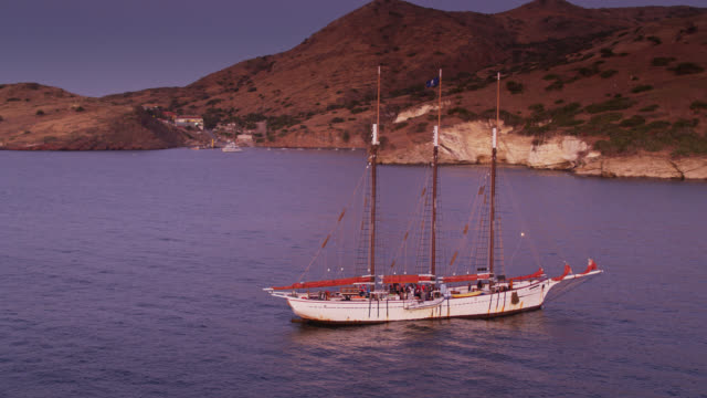 old fashioned sailing ship off catalina island - aerial view - channel islands california stock videos & royalty-free footage