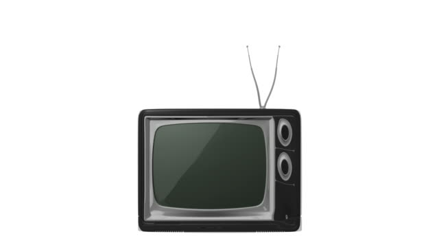 CGI old fashioned television set morphs into newer television and then into a large flat screen television