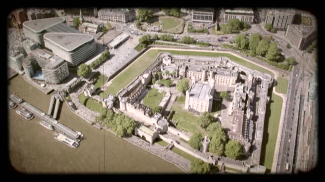old film aerial view of the tower of london, uk. 4k - british culture stock videos & royalty-free footage