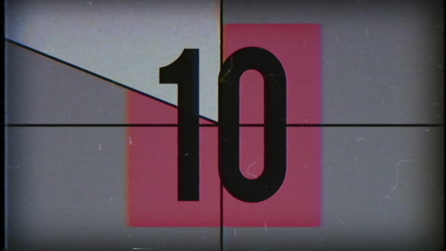 old film countdown, 4k - number 10 stock videos & royalty-free footage
