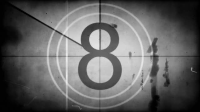 stockvideo's en b-roll-footage met old film countdown - black & white with audio (full hd) - loopable moving image