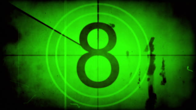 old film countdown - green overlay with audio (full hd) - countdown stock videos & royalty-free footage