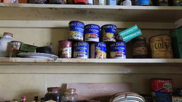 old food in station w, an old british scientific research station on detaille island, graham land, antarctica. - canned food stock videos & royalty-free footage