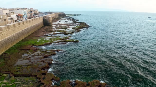 old fortress on the stone coastline of sea - akko stock videos and b-roll footage