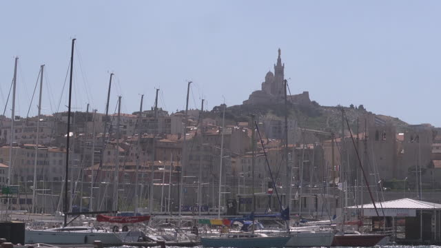 old harbour in marseille - notre dame de la garde marseille stock videos and b-roll footage