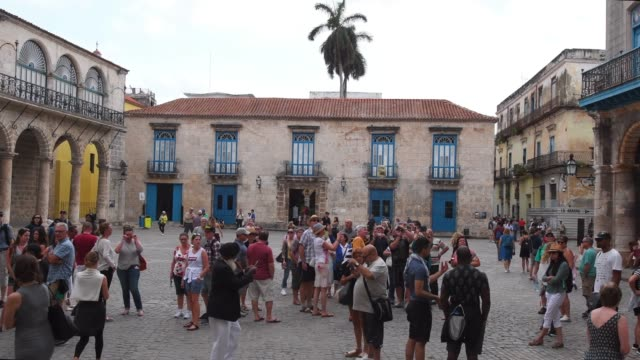 old havana, cuba, large group of people in the cathedral square - tourist stock videos & royalty-free footage
