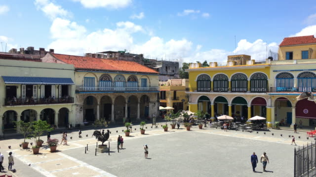 old havana, cuba: old plaza or 'plaza vieja', aerial view - plaza vieja stock videos and b-roll footage