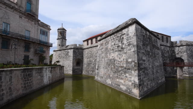 old havana military fortress which is a tourist landmark in the unesco world heritage site-cuba - fortress stock videos & royalty-free footage