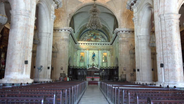 old havana,cuba: indoors at the cathedral of the virgin mary of the immaculate conception - altar stock videos & royalty-free footage