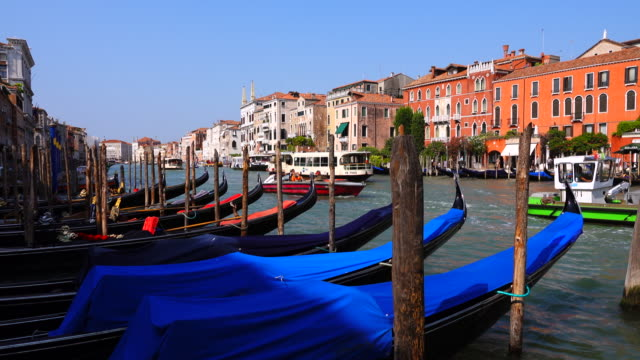 old houses and grand canal view from venice, italy - mediterranean culture stock videos & royalty-free footage