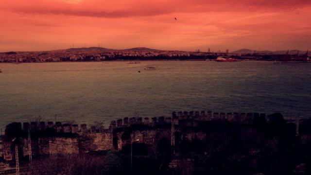 old istanbul timelapse orange - passenger craft stock videos & royalty-free footage