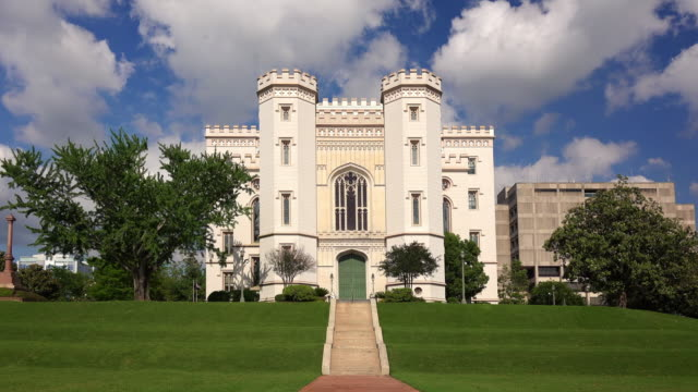 old louisiana state capitol building in baton rouge - lawn stock videos & royalty-free footage