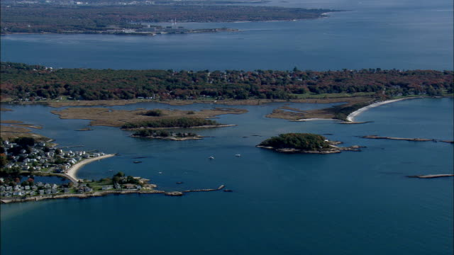 old lyme shores to niantic  - aerial view - connecticut,  new london county,  united states - new london county connecticut stock videos & royalty-free footage