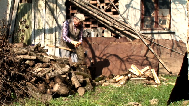 hd :old man axing ウッド - ワーキングシニア点の映像素材/bロール