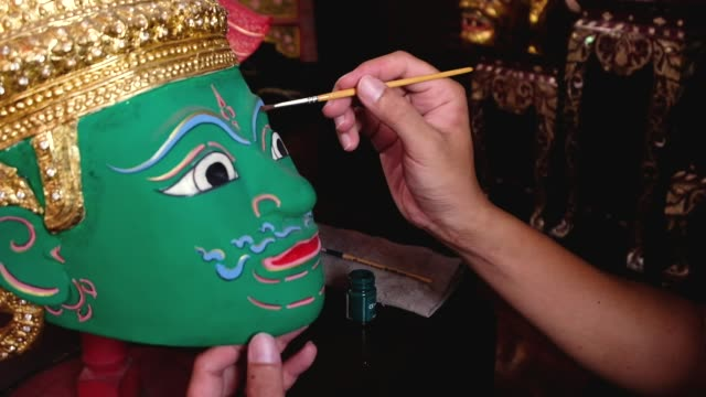 old man painting ramayana ramen mask. the india historical story welcome to thailand concept.culture of thailand - demon fictional character stock videos & royalty-free footage