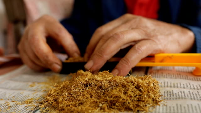 old man preparing cigarette for smoking - tobacco product stock videos & royalty-free footage