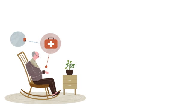 vídeos de stock e filmes b-roll de old man sitting in a rocking chair and medical icons - old illustration