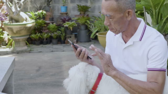 old man using smartphone at home with Dog