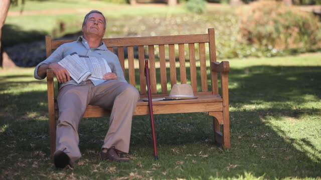 WS Old man waking up on bench in Park / Cape Town, Western Cape, South Africa