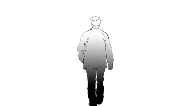 old man walking around frame by frame sketch and drawing animation - line art video stock e b–roll