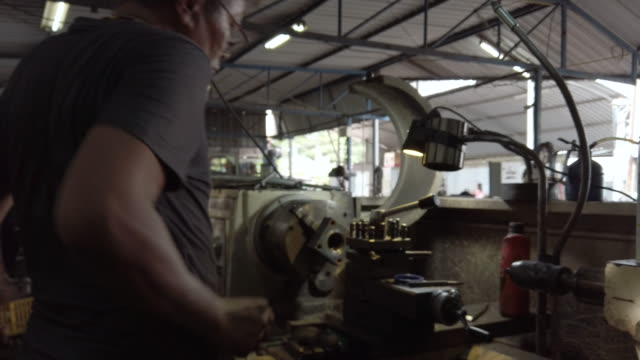 old man working on lathe . - agricultural equipment stock videos & royalty-free footage