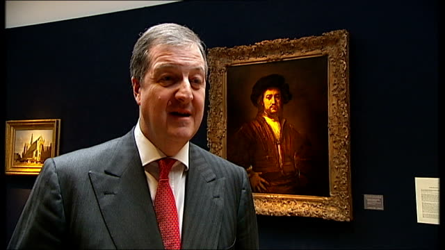 old masters' works of art to be sold at london auction houses close view of rembrandt portrait painting richard knight interview sot more close views... - raphaël haroche stock videos & royalty-free footage