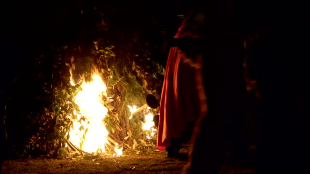 old men and candelabrum-bearer bringing the witch to fyre during 'giubiana'- a traditional celebration in the northern italy where a puppet of an old... - witch stock videos & royalty-free footage