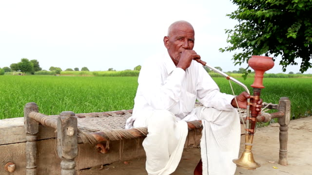 vecchio uomo godendo narghilé - dhoti video stock e b–roll