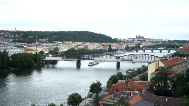 old metal bridge on vitava riverbank near vyšehrad, prague - traditionally czech stock videos & royalty-free footage