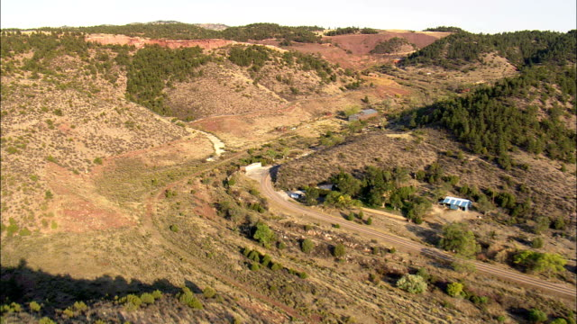 old mining area of hartville  - aerial view - wyoming, goshen county, united states - wyoming stock videos & royalty-free footage