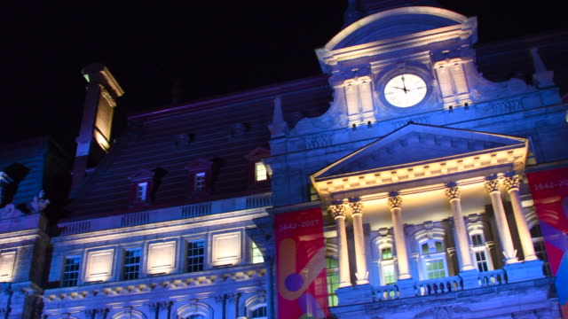 old montreal, canada: panning the city hall at night - vieux montréal stock-videos und b-roll-filmmaterial